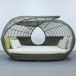 Tecido de vime plástico de alumínio no exterior por grosso de mobiliário conjunto moderno Sofá-Cama com almofada