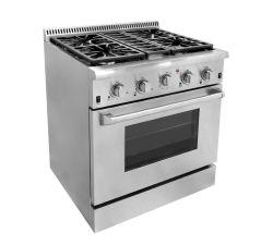 4バーナーが付いている商業支えがないガス範囲及び石のグリル及びオーブン