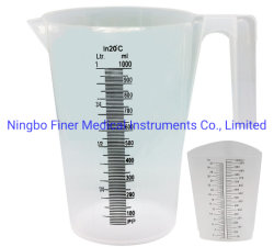 실험실 의학 명확한 투명한 등급 액체 플라스틱 측정 컵