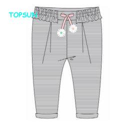 Пружина осенью 100% хлопок обычная маленьких девочек брюки Одежда повседневная нижней части малыша длинные брюки полосы