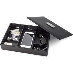 6-Slot Luxus Schmuck Aufbewahrungsbox für Uhren, Sonnenbrillen, Geldbörse Telefon und Schlüssel PU Leder Metall Schnalle