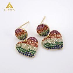 보석 품목 형식 보석 심혼 다중 색깔 지르콘을%s 가진 모양 장식 못 귀걸이를 발송하게 준비되어 있는 최신 판매