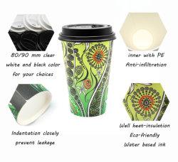 Boisson chaude biodégradable Logo personnalisé à double paroi isolante de gobelets en papier de café avec couvercle