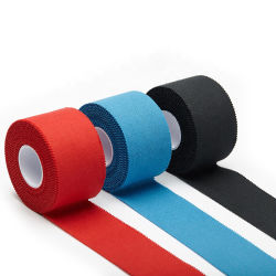 100% coton imprimé en gros personnalisé oxyde de zinc non élastique de couleur blanche de bandes de Hockey Sports Bandage de bande pour la protection conjointe