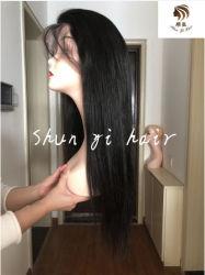 Hot Sale vierge 100 % couleur naturelle des cheveux humains Swiss dentelle Dentelle perruque perruque frontale droite pour femme noire