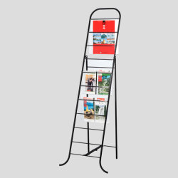 Beweglicher Fußboden-Chrom-Metallzeitungs-Buch-Ausstellungsstand