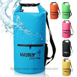Qualitäts-wasserdichter haltbarer trockener Beutel mit Reißverschluss-Taschen-Schultergurt, Rollenoberster trockener Komprimierung-Sack hält Gang trocken