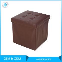 Ropa de cama plegable de tela gris Storage Ottoman reposapiés