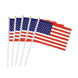 Het Toejuichen van de Ventilator van de Sporten van de Prijs van de douane Goedkope het Schudden van de Hand van Amerika van de Stof van de Polyester MiniVlag