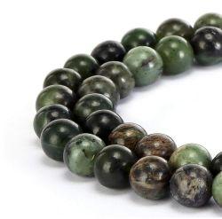 自然な中国の緑のヒスイの宝石用原石のスムーズな円形の緩いビードは宝石類のブレスレットおよびネックレスおよびいろいろな方法宝石類4mm - 14mm作ることができる