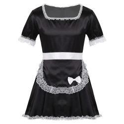 Мужчин взрослых рукава шелковистая атласная платье Гей Sissy горничной платье
