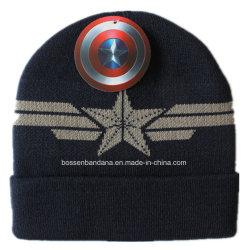 Logotipo hecho personalizado de los hombres de deportes de invierno tejido acrílico negro tejido Jacquard Beanie Cap