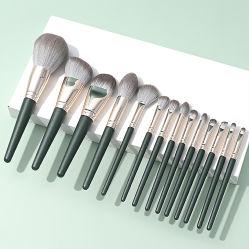 Professionele gepersonaliseerde Beauty Tool Cosmetic Brush Paint 14PCS/Set Green Cloud Super Soft Beginner Full Make-up Brush Set