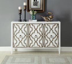 3つのドアの大きいシャンペンの木のトリムの白い家具のサイドボードのキャビネット