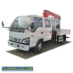 Isuzu 4x2 cabina doble 3.2tons Grúa hidráulica montados sobre camiones pluma telescópica montada sobre camión