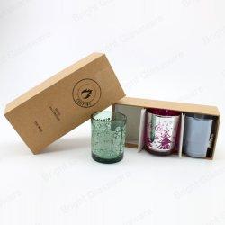 Tealight Decoração de Natal Óculos Vela suporte para velas de vidro com caixa de velas para venda por grosso