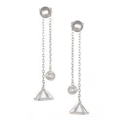 Form-Diamant-Schmucksache-Silber-Kette baumeln Schmucksache-Ohrringe