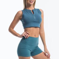 Parte superiore del raccolto della chiusura lampo ed insieme anteriori all'ingrosso di yoga di sport delle donne di Shorts