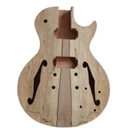 Trou d'érable Spalted Haut F Corps de guitare semi Hollow Lp