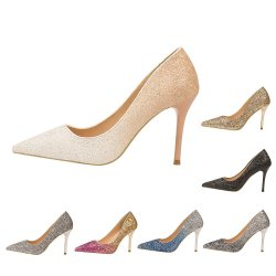 Glitter moda cambiar de color gradual Low-Cut estrecho superior de la mujer de tacón zapatos de boda