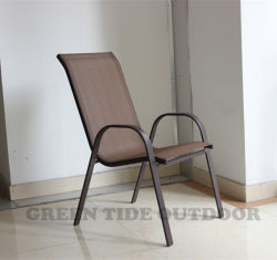 Pátio com jardim mobiliário de jantar exterior a linga empilháveis de aço Cadeira Cadeira Textilene