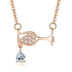 Gota de vino de zirconio de cristal Colgante Collar de cristal de la mujer de Rhinestones collares de lujo regalos de Navidad para la mujer joyas cumpleaños