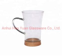 新しいガラスコップの木の立場のコーヒーのためのハンドルが付いているガラスティーカップが付いている高いホウケイ酸塩ガラスの飲むコップ