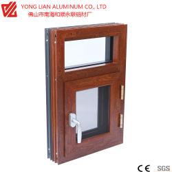 Portes et fenêtres en aluminium avec des matériaux dans le bâtiment du grain du bois et double vitrage