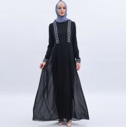 Chiffon Abaya rebordeado de alta calidad ropa Islámica Manik Puntilla Abaya Dubai