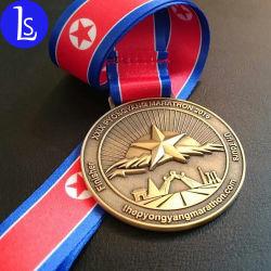 カスタムマラソンのフィニッシャーメダル金属の銀の記念品メダル円形浮彫り