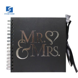 Die Mr&Mrs Folie, die gewundenes Packpapier-Einklebebuch-Album, schwarze Pappe stempelt, bedeckt Album, DIY Hochzeits-Album-China-Fabrik