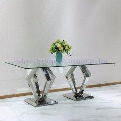 ホットセールの現代的なステンレススチールの家の家具ガラスのダイニングテーブル
