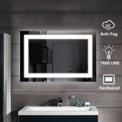5mm con aprobación UL, CE Hotel de pared de baño Decoración Hogar decoración interruptor táctil LED iluminado espejo del baño con desempañador