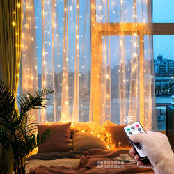 Homeの寝室Windowのための3m LED Christmas Fairy String Lights Remote Control USB New Year Garland Curtain Lamp Holiday Decoration