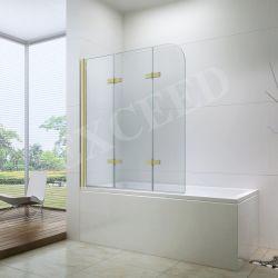 Cuarto de baño de oro 6mm de Cristal transparente templado de 3 puertas plegables y pivote de la pantalla de la bañera (ex-206)