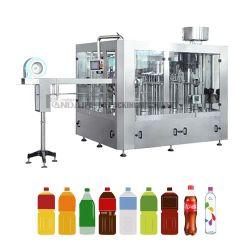 زجاجة الحيوانات الأليفة التلقائي سائل الشرب النقية مياه معدنية تعبئة آلة / مشروبات عصير مكربنة المنكهة بالمكربونات تملأ صنع مصنع التعبئة
