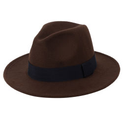Groothandel Custom Spring Fashion Outdoor brede rand Blue Grey verontrust Vintage wol voelde Fedora hoeden voor mannen