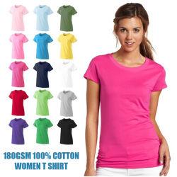 180GSM 100% coton Logo personnalisé imprimé vierge Tshirts plaine de gros de la femme T Shirt