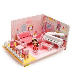Custom Novo Fashion Meninas Aniversário Dom Miniatura bricolage grande brinquedo rosa casa de bonecas de madeira para crianças
