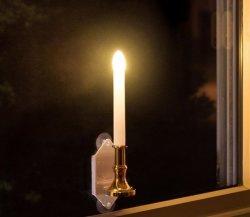 크리스마스 윈도우 촛불 - 배터리로 작동하는 백색 플라미스 테이퍼, 착탈식 베이스, 깜박이는 LED 조명