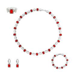 Insieme vermiglio quadrato dei monili della collana degli accessori dei monili di modo di cerimonia nuziale