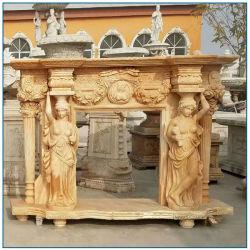 Cheminée en marbre sculpté à la main avec les femmes de Mantel statue à la vente