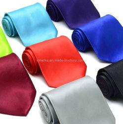 남자 (WH01)를 위한 도매 형식 평야 색깔 폴리에스테 실크 넥타이