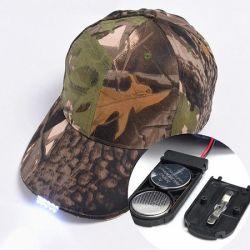 Voyants LED vierge de camouflage des casquettes de baseball pour la chasse, accepter avec logo personnalisé