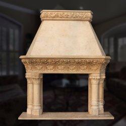 Tallado en granito de piedra de buena calidad de la chimenea de mármol Overmantel Hand-Carved