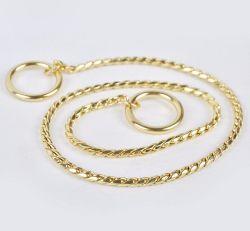 Treinamento de cães de estimação Metal Colar P Leash leva a prata dourada Dog Snake Cadeia de deslizamento da corrente