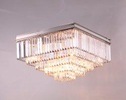 De style Art déco de l'odéon frange de verre clair Square lampe de plafond