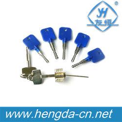 Yh9283 파란 & 은 고품질 5PCS Cross-Shaped 자물쇠 후비는 물건 연장 세트 + 자물쇠 제조공 공구 투명한 교차하는 중요한 자물쇠