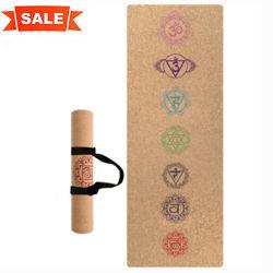 7 Chakra Zoll gedruckte Naturkautschuk-Korken-Yoga-Matte