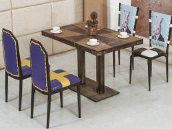 Mesa antigua de la Pierna de metal y mesa de madera Muebles de Comedor